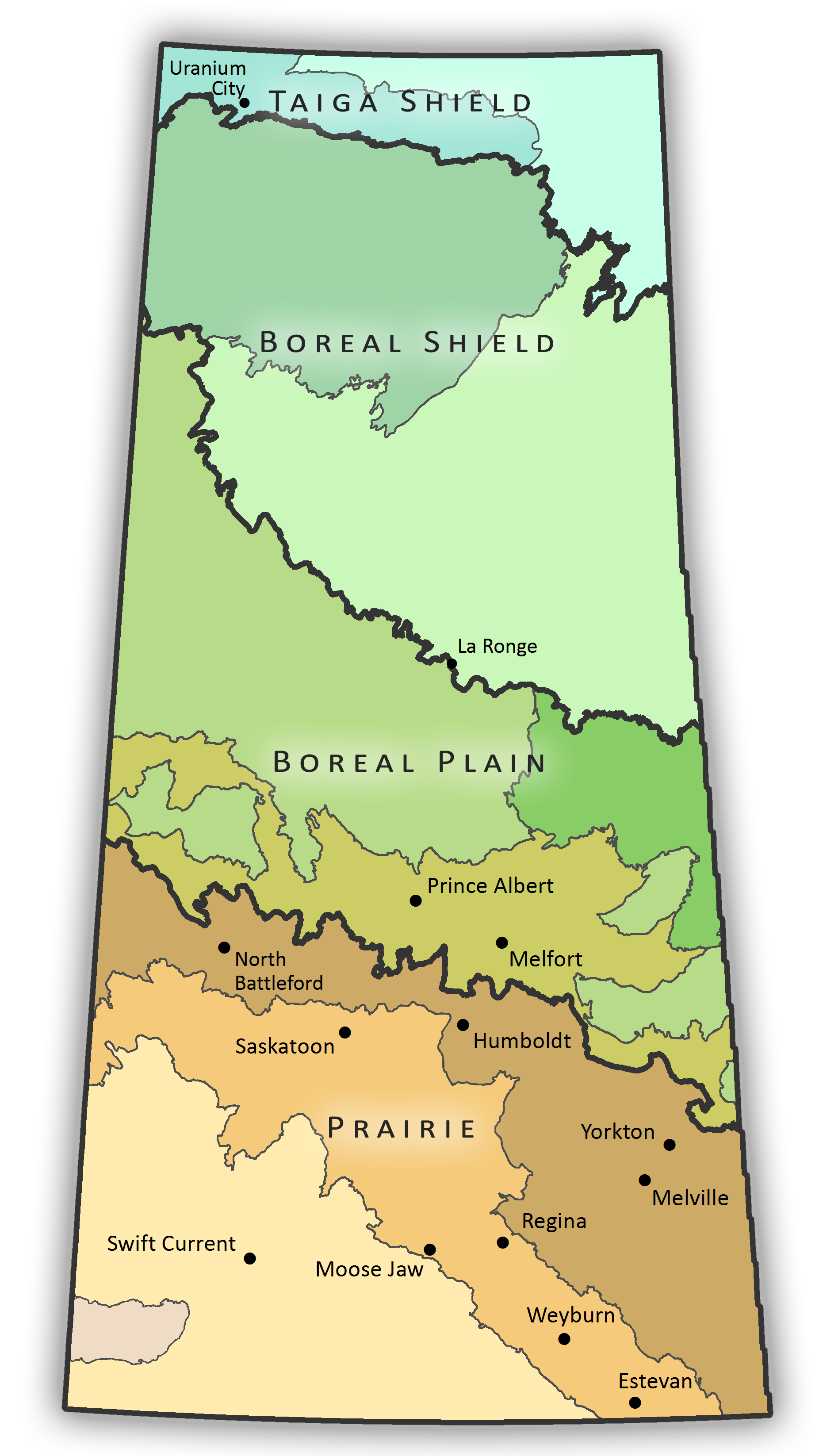 Map illustrating the Ecozones and Ecoregions of Saskatchewan. Click on an ecoregion to display a pop-up window with more information.